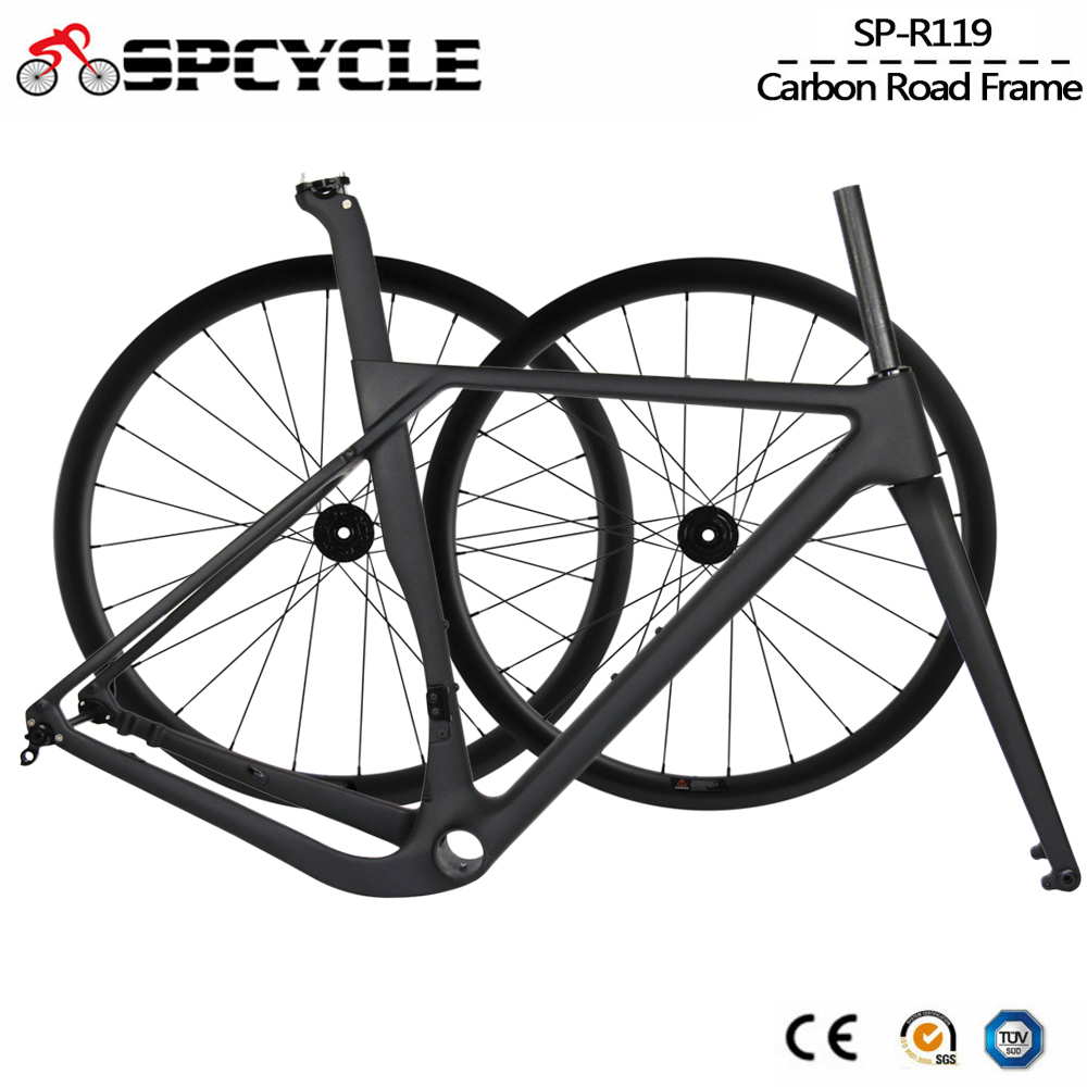 Spcycle Aero Full Carbon Gravel Frame And Wheels Set 700*40C Disc Brake Road Cyclocross Bike Frameset Size 49/52/54/56/59cm