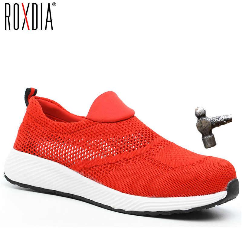 ROXDIA marka yaz hafif çelik toecap erkek kadın çalışma ve güvenlik botları nefes erkek kadın ayakkabısı artı boyutu 36-46 RXM120