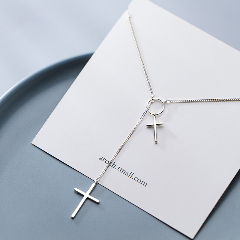 Fashion Simple Cross Long Chain Pendant Necklace Fashion Sweater Chain Necklace Jewelry For Women Accessories S-N552