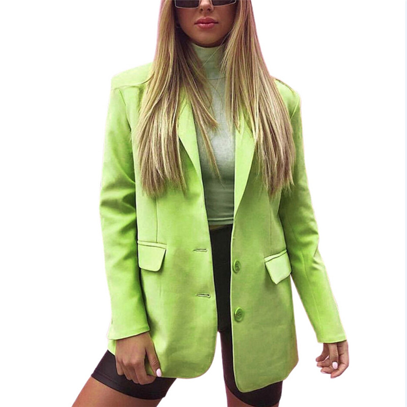 Autumn Women Long Sleeve Blazer Suit Jacket Coat Slim Casual Top Solid Candy Color Green Black