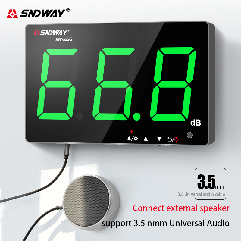 Sound Db 130 Meter Noise Monitoring Decibel Green Wall 30 Digital Light Meter Charging USB Sndway Mounted Noise Level Measuring