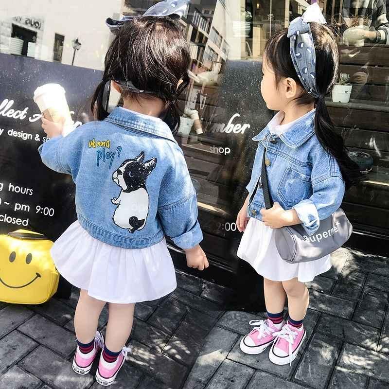 תוספות חמה תינוק בנים ובנות ג 'ינס מעיל 1-9 שנים ילדים דנים מעיל אביב ובסתיו מודפס קריקטורה כלב תינוקת מעיל