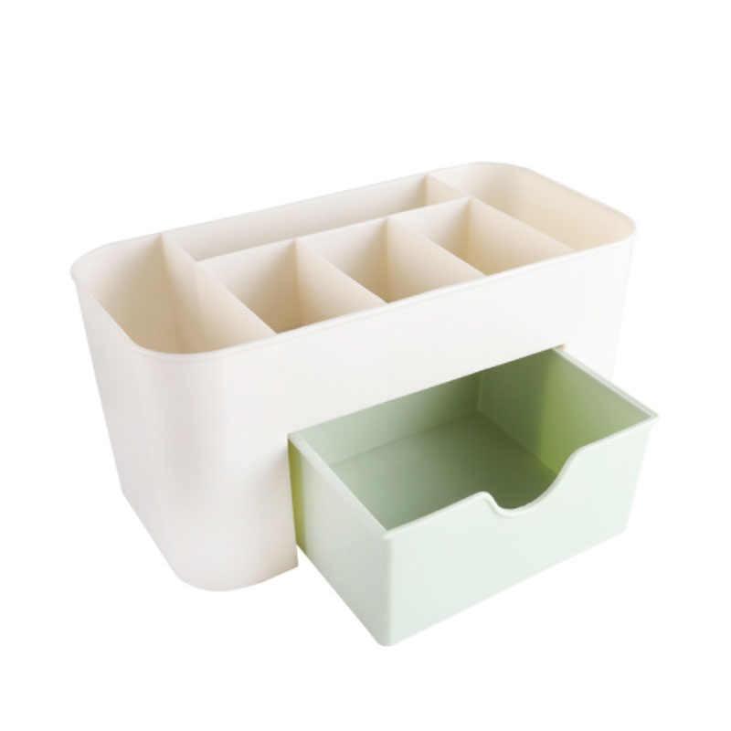 แต่งหน้า Make Up แปรงกล่องเครื่องประดับที่มีลิ้นชักผ้าฝ้าย Swabs Stick Office Home กล่องเก็บสีชมพูสีฟ้าสีเขียว