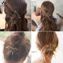Oly2u Korea Chic Geometric Hair Clip Elegant Triangular Moon Round Barrette Stick Hairpin Hair Pins Head Accessories Christmas