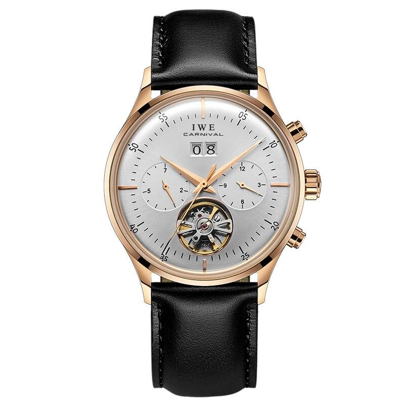 New Tourbillon Automatic Watch Men Carnival Fashion Leather Strap Mens Mechanical Watches Waterproof Wristwatch Montre Homme