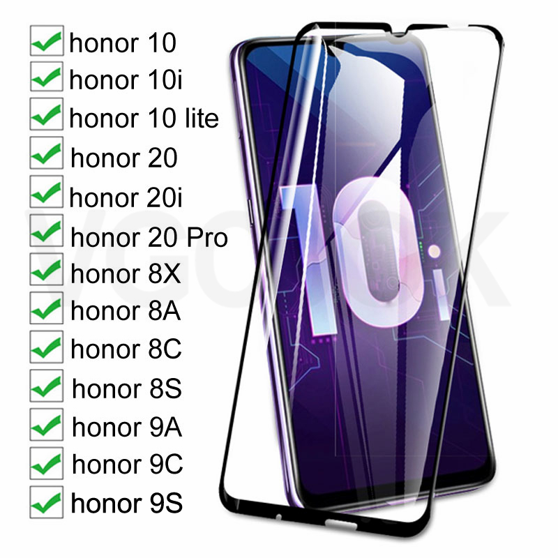 100D Full Protective Glass For Huawei honor 10 Lite 20 Pro 10i 20i Tempered Screen Protector On Honor 8X 8A 8C 8S 9A 9C 9S Glass