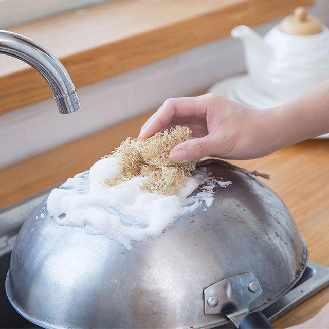 5Pcs/Set Natural Loofah Sponge Kitchen Cleaning Brush Dish Scrubber Washing Tool 6