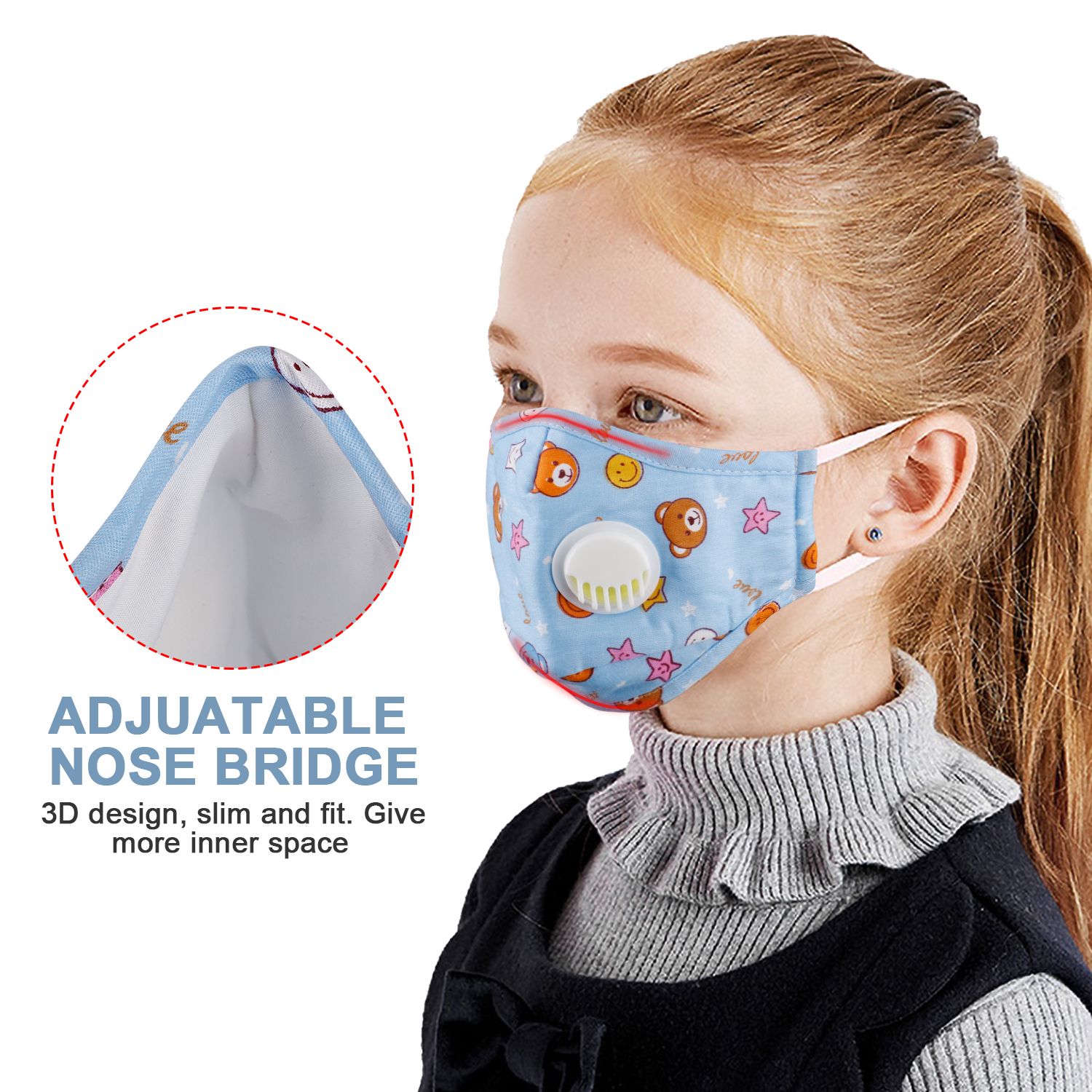 Durable Unisex Kids Mouth Mask Boys Girls Anti-fog Haze Dust  PM 2.5 Face Mask With Breathable Valves For Child Outdoor