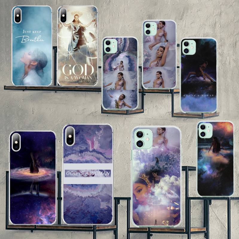 CUTEWANAN <font><b>Ariana</b></font> <font><b>Grande</b></font> God is a woman Bling Cute Phone <font><b>Case</b></font> for <font><b>iPhone</b></font> 11 pro XS MAX 8 7 6 <font><b>6S</b></font> Plus X 5S SE 2020 XR cover image