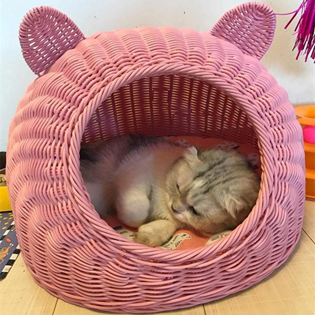 Pet Woven Cave Bed  Imitation Wicker House Basket for Cat/Kitten/Puppy/Dog