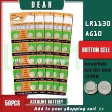 50PCS DEAH 1,55 V AG10 LR1130 Alkaline Zell Münze Batterie AG 10 SR54 189 389 SR1130 L1131 G10A Taste batterien Für Uhren Spielzeug