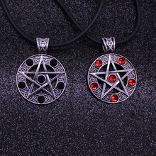 Japan Anime Pentagram Crystal Necklace For Men Boys Retro  Hollow Out Round Rope Chain Pendant Necklaces Vintage Jewelry Gifts vintage pentagram hollow out bead necklace for women