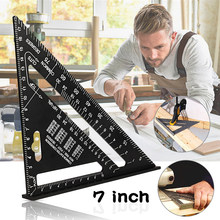 Oauee triângulo régua 7 polegada liga de alumínio ângulo transferidor velocidade métrica régua de medição quadrada para construção ferramentas de enquadramento calibres