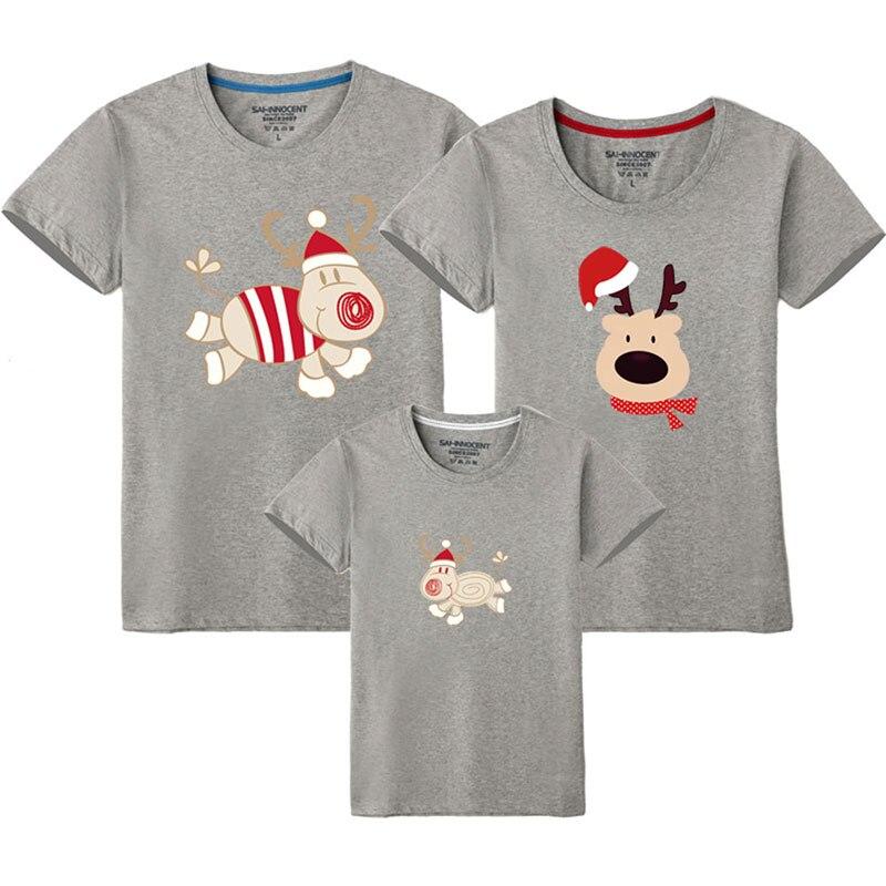 Семейный костюм для папы, мамы и ребенка; одинаковые рождественские комплекты для семьи; футболка для мамы и дочки; одежда с короткими рукавами для папы и сына - Цвет: Gray