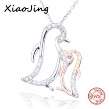 XiaoJing 100% 925 sterling silver diy design penguin mom hug baby pendant chain necklace fashion jewelry making for mother gifts