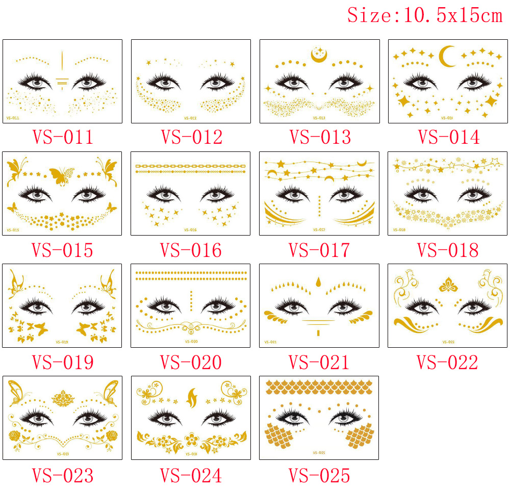 Gold Temporary Female Face Metal Tattoo Sticker Buterfly Moon Scale Chain Jewelry Flash Tattoo Body Electronic Syllable Festival (4)