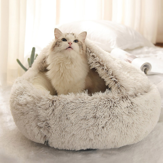 HOOPET New Style Pet Dog Cat Bed Round Plush Cat Warm Bed House Soft Long Plush Bed For Small Dogs For Cats Nest 2 In 1 Cat Bed- 2