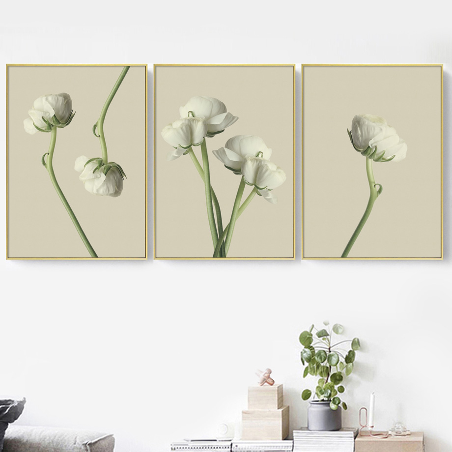 Leaf Flower Canvas Poster Nordic Green Plant Wall Art Print Modern Home Decor