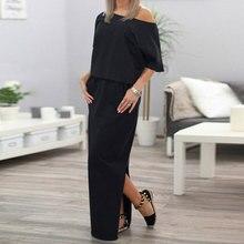 Summer Autumn Women Long Maxi Dress Robe Casual Sexy Short Sleeve Side Slit Loose Elegant Dress Side Open Pockets Dresses цена 2017