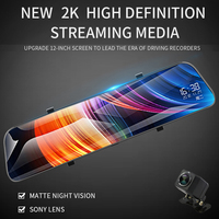 New 12 Touch Screen 2K Full HD Car DVR Dash Camera Dual Lens Video Stream Media Recorder Rearview Mirror 1080P Back Camera