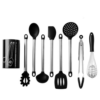 8PCS Stainless Steel Food Grade Silicone Cooking Spoon Soup Ladle-Egg Spatula Turner Kitchen Tools Utensil Set