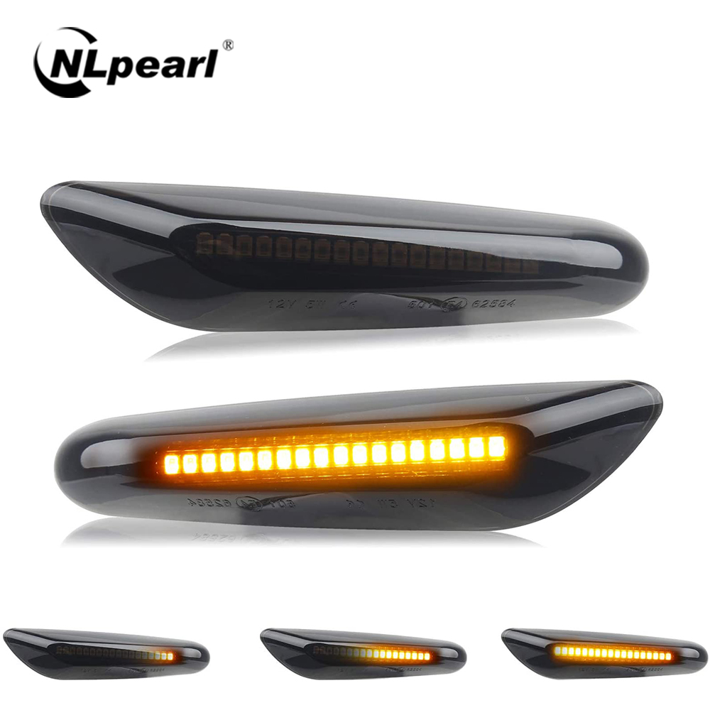 NLpearl 1 Pair Smoke Dynamic LED Side Marker Turn Signal Light for BMW E60 E90 E36 E46 X1 X3 X5 Flowing Indicator Signal Light image