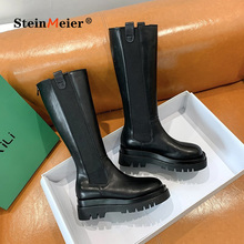 Ankle-Boots Platform Chunky Women Shoes Chelsea Autumn Winter High-Sneaker Female Slip-On