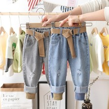 Boys Jeans Pants Spring Denim Pants Kids Clothing Children Jeans Casual Trousers Jeans For Ripped Pants Belt Threaded Jeans cheap Ywstt CN(Origin) Fits true to size take your normal size 7788SFS Elastic Waist Unisex high Solid Regular Light PD - 071701