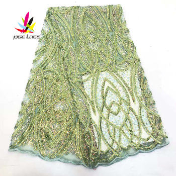 Latest African Sequin Lace Fabric Green Color Embroidery Elegant French African Nigerian Latest Design New Style Best Selling