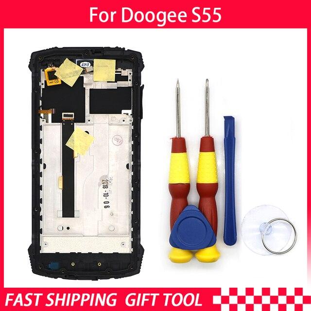 Nuovo Display LCD Touch Screen originale Per Doogee S55 Digitizer Assembly Con Telaio di Ricambio + Strumento di Smontare