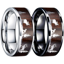 FDLK  Fashion Couple 8MM Steel Rings Inlay Deer Stag Wood Wedding Band for Men Women Engagement Promise Jewelry Anniversary Gift