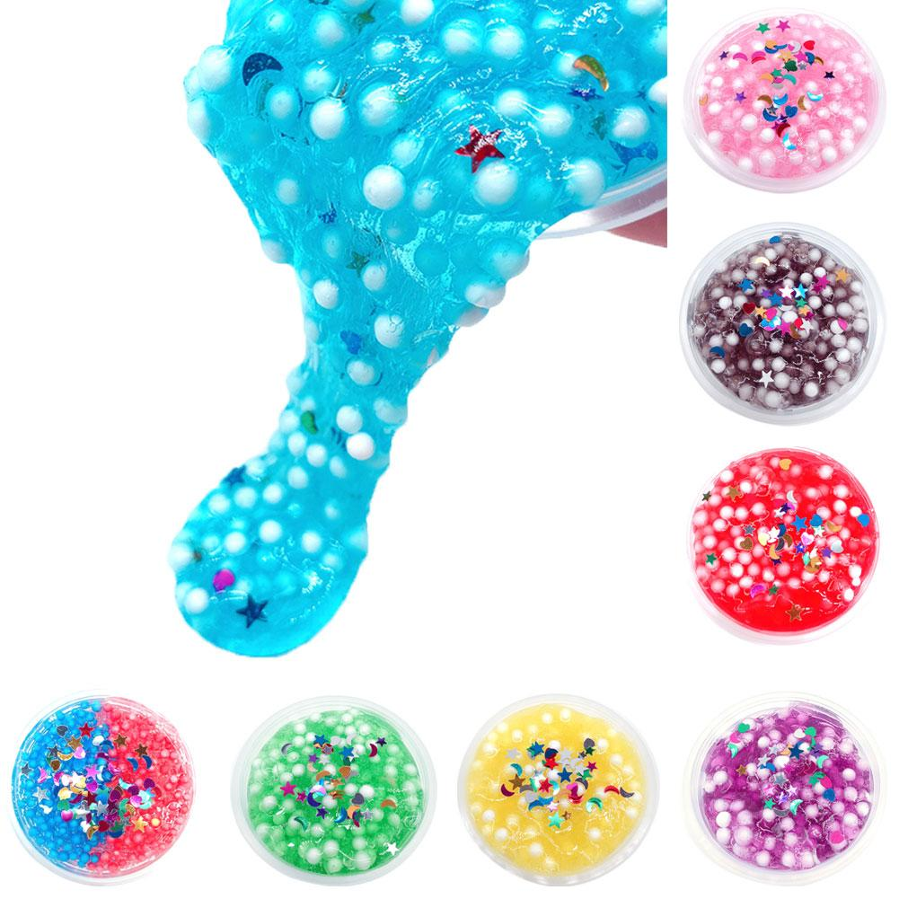 1Pcs Foam Beads Crystal Mud Clay Slime Putty Plasticine Sludge Kids Children Adult Stress Relief Toys Gifts