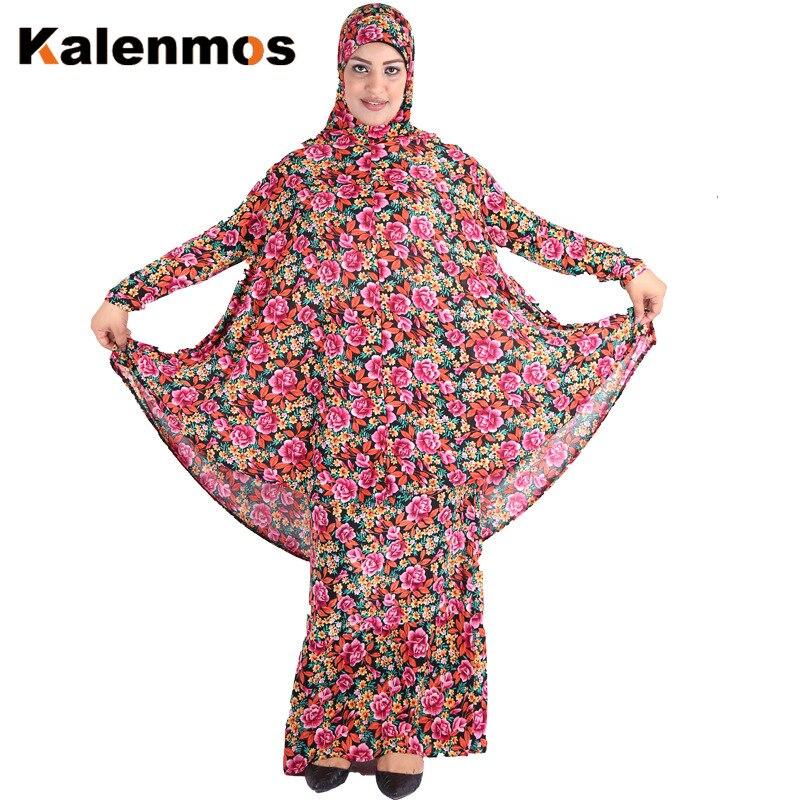 Turkey Muslim 2 Piece Set Women Prayer Garment Ramadan Long Hijab And Skirt Flower Jilbab Robes Islamic Abaya Maxi Dress