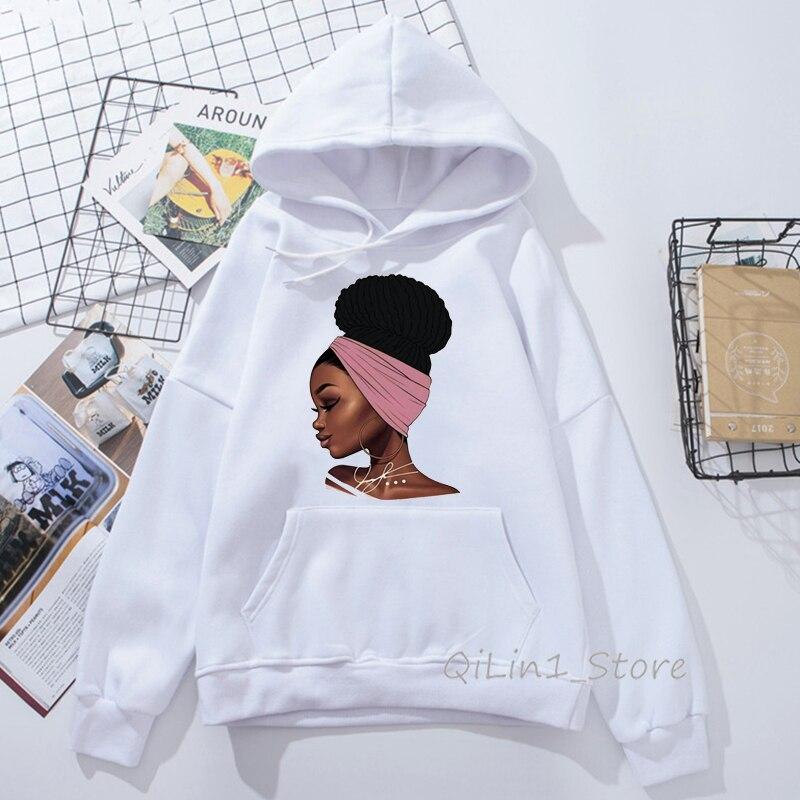 Sudadera Mujer Vogue Melanin Hoodie Woman Kawaii Black Girl Print Hooded Women's Sweatshirt Hip Hop Punk Streetwear Hoody