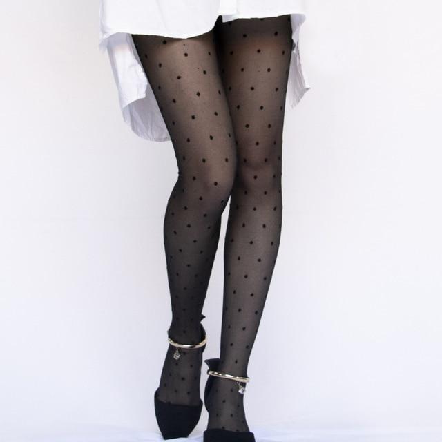 1PC Sexy Women Pantyhose Tights Summer Nylon Polka Dot Print Stockings Seamless Fishnet Mesh Female Hosiery Vintage Faux Tattoo 1