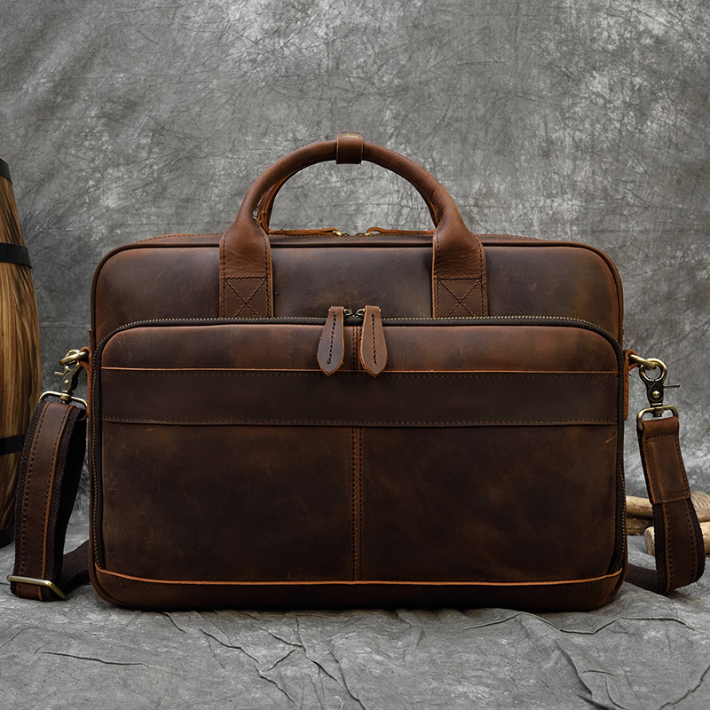 "MAHEU Men Briefcase Genuine Leather Laptop Bag 15.6"" PC Doctor Lawyer Computer Bag Cowhide Male Briefcase Cow Leather Men Bag
