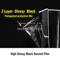 Glossy Black Car Sunroof Wrap Roof Film Vinyl DIY Sticker Waterproof Air Release 1.35m*15m/Roll factory price