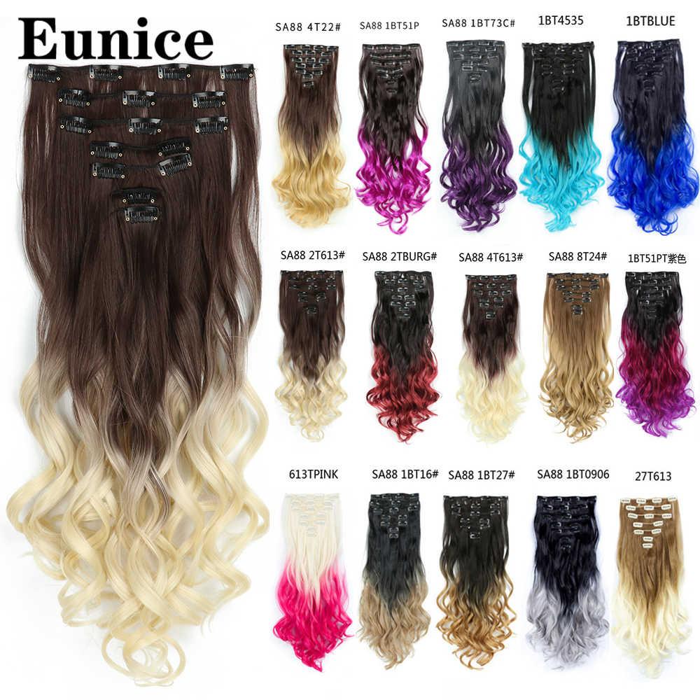 Eunice haar 22inch Ombre Lange krullend Haar Uitbreiding 7 stks/set 16 Clips Hoge Tempreture Synthetische Haarstukje Clip in Haar extensions