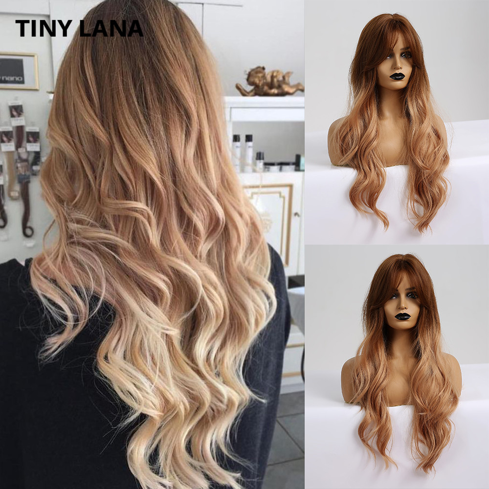 TINY LANA Ombre Brown Blonde Color Synthetic Hair Wigs With Bangs For Black Women Heat Resistant Fiber Long Wavy Middle Part