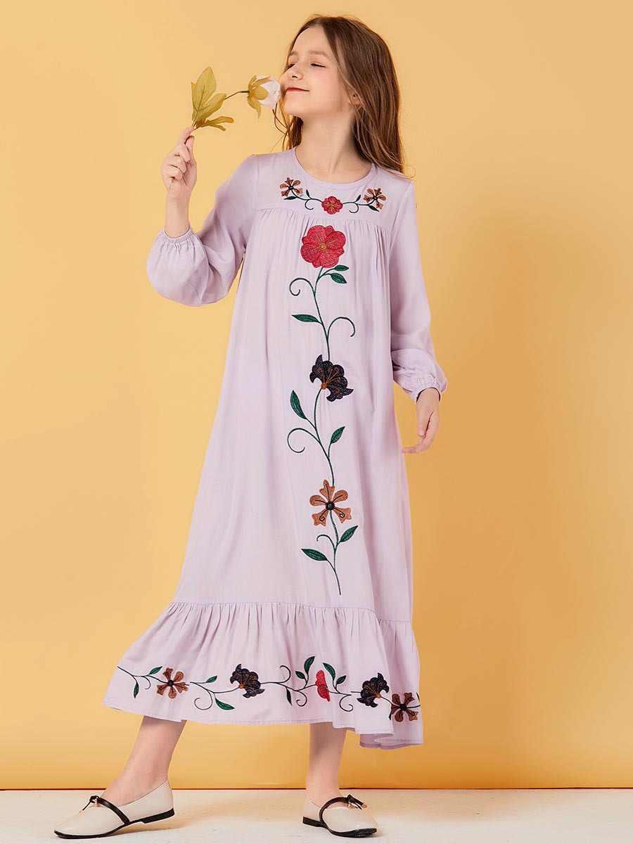 Della ragazza Verde Musulmano Vestito Fiori Bambini Abaya Dubai Turchia Bangladesh Carino Abiti Kaftan Turco Abbigliamento Islamico 2020 Abiti