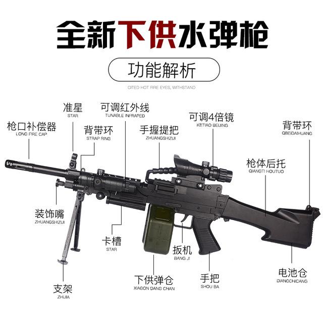 Ze yang M249 Large Pineapple Water Gun M762 Electric Firing for the Bomb under 98 k awm Children Counter Strike Cosplay Battle