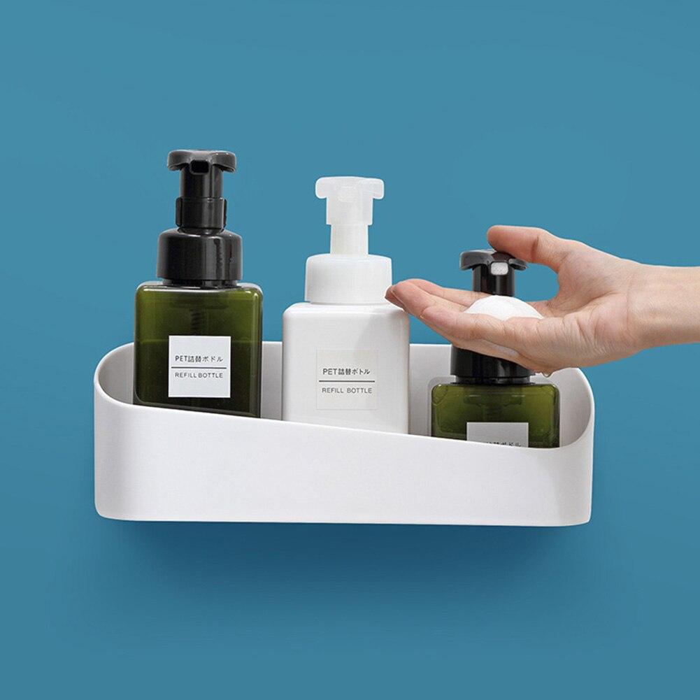 Cuarto de baño estante de champú cosmético bastidor de almacenamiento de plástico taza de la succión de la esquina estante de almacenamiento organizador de plataforma de ducha accesorios de baño