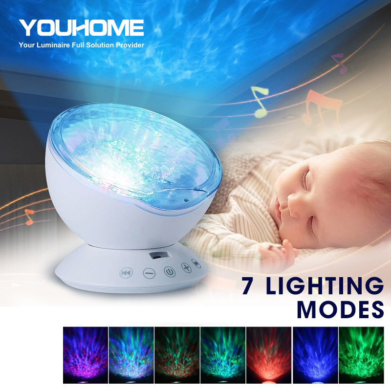 Ocean Wave Projector LED Night Light remote control built in music player speaker 7 color modes for party kids bedroom dropship