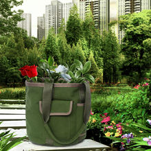 Draagbare Emmer Gereedschapstas Tuin Gereedschap Tas Tuinieren Tote Bag Tool Opbergtas Pouch Opvouwbare Waterbestendig Canvas Tuin Tool(China)