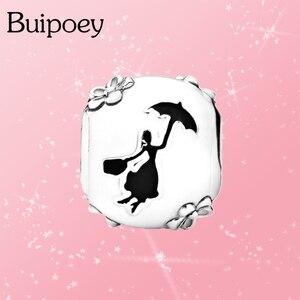 Buipoey 2 шт. модный серебряный цвет бисера Фея Mary Charm Fit Pandora браслет и ожерелье оригинальный Diy ювелирный аксессуар