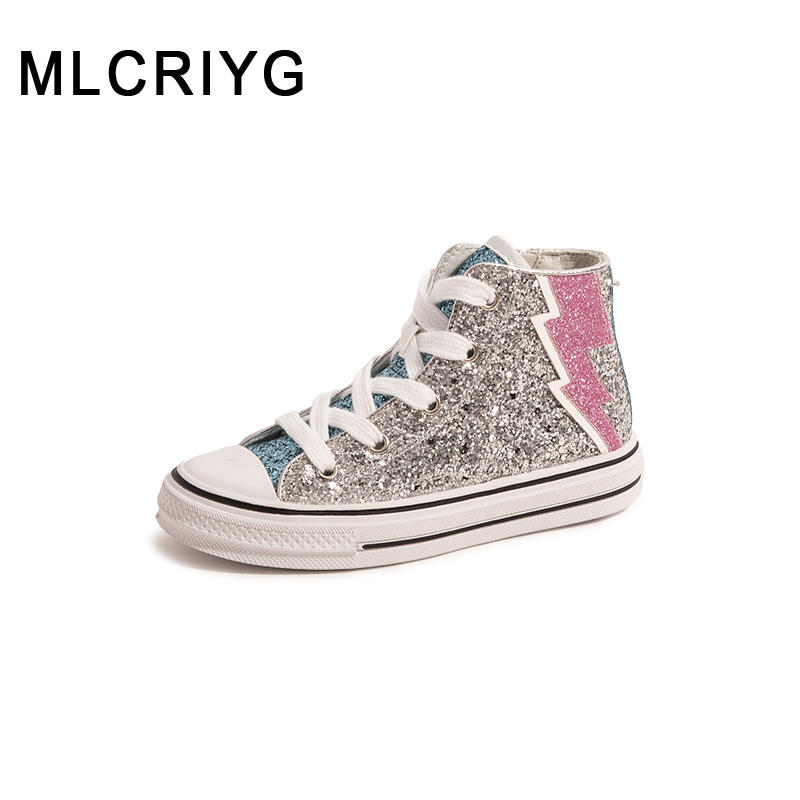 Autumn Kids Sport Sneakers Children Glitter Shoes Baby Girls Casual Sneakers Boys Brand Shoes Black High Top Sneakers Trainers