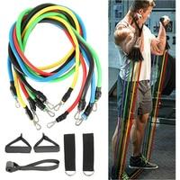 Bandas de resistencia de tubo de látex para entrenamiento de fuerza muscular, equipo de Yoga, Fitness, gimnasio, cuerda de ejercicio de tirar, soporte elástico para el hogar, 11 Uds.