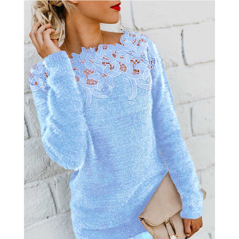 Vrouwen Herfst Winter Fleece Trui Sexy Lace Hollow Out Pluche Trui Slash Hals Gebreide Trui Plus Size Tops Casual Jumpers