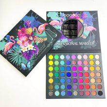 63 Colors Tropical Rainforest Pattern Pearlescent Matte Sequins Large Multicolor Eyeshadow Palette