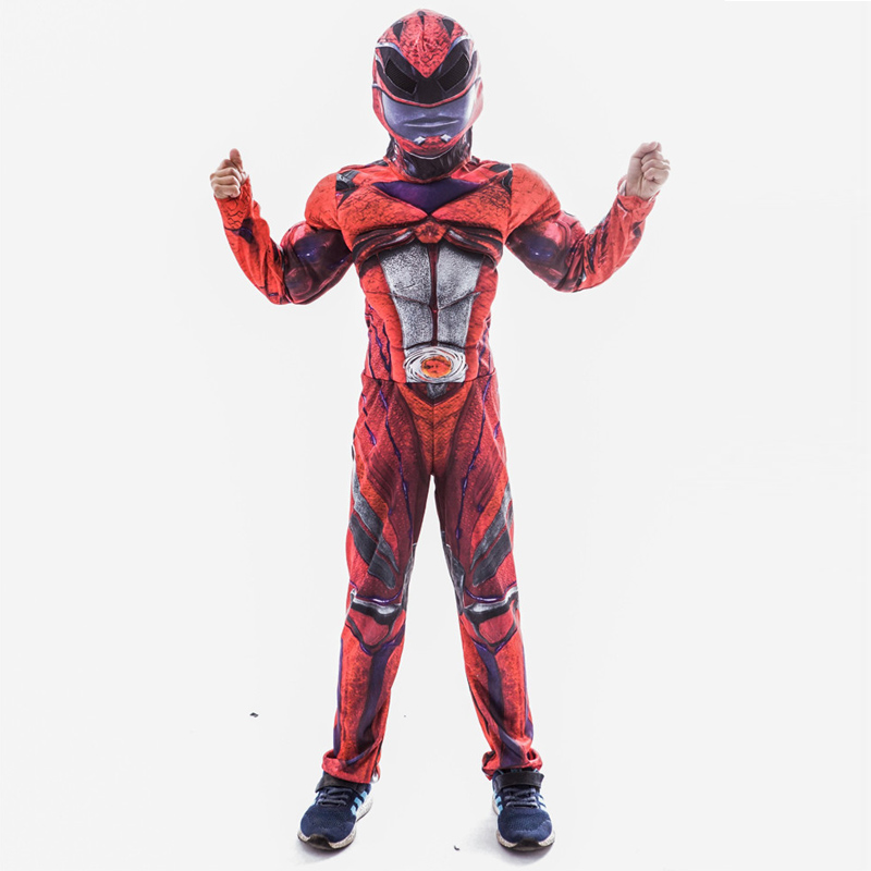 Kid Superhero Power Costume Muscle Chest Red Rangers Superman Jumpsuit Halloween Fancy Dress